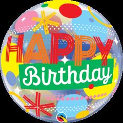 Bubble Bday Circles & Dot Stripes pvc balon