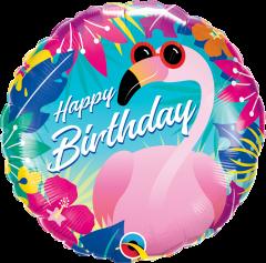 Standard Bday Tropical Flamingo folijski balon