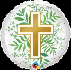 Standard Golden Cross & Greenery folijski balon