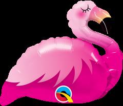 Mini Pink Flamingo folijski balon na štapiću
