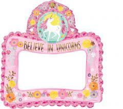 Maxi Selfie Frame Magical Unicorn folijski balon