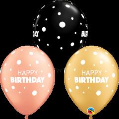 Lateks baloni 28cm Bday Big&Little Dots Special Ast