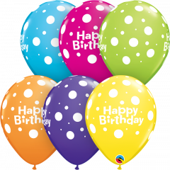Lateks baloni 28cm Bday Big Polka Dots Ast