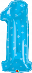 Folijski balon broj 1 Blue Stars