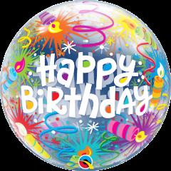 Bubble Bday Lit Candles pvc balon
