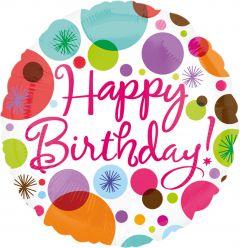 Standard Happy Birthday Polka Dots folijski balon