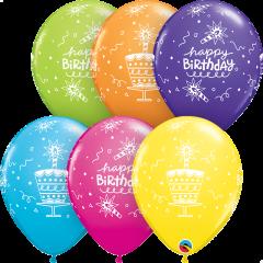 Lateks baloni 28cm Bday Cake&Candle Tropical Ast