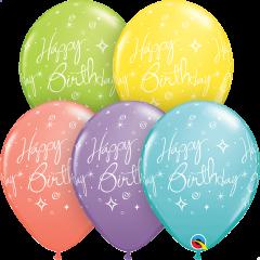 Lateks baloni 28cm Bday Elegant Sparkles&Swilrs Sorbet Ast