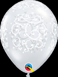 Lateks baloni 13cm Filigree&Hearts DC