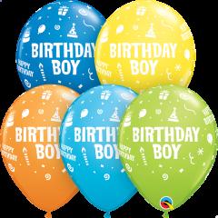 Lateks baloni 28cm Bday Boy Special Ast