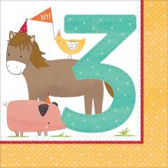 Barnyard Birthday salvete 33x33cm