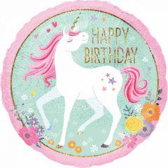 Standard Holographic Magical Unicorn Happy Birthday folijski balon