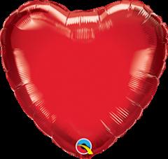 Mini Srce folijski balon na štapiću 10cm - Ruby Red