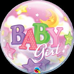Bubble Baby Girl Moon & Stars pvc balon
