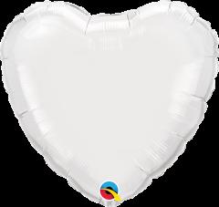 Mini Srce folijski balon na štapiću 22,5cm - White