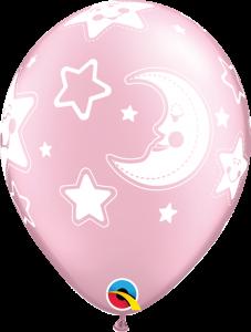 Lateks baloni 28cm Baby Moon&Stars Pearl Pink