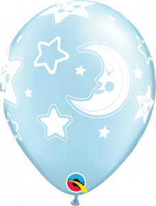 Lateks baloni 28cm Baby Moon&Stars Pearl Light Blue
