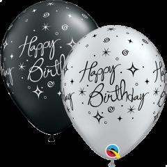 Lateks baloni 28cm Bday Elegant Sparkles&Swirls Pearl Black&Silver
