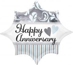 Standard Elegant Happy Anniversary Burst folijski balon