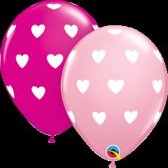 Lateks baloni 28cm Big Hearts Pink&Wild Berry
