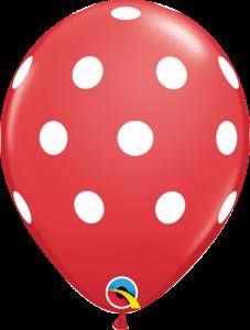 Lateks baloni 28cm Big Polka Dots Red