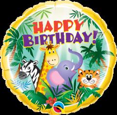 Standard Bday Jungle Friends folijski balon