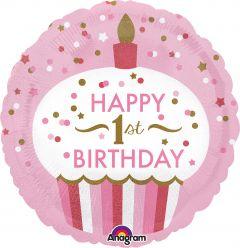Standard 1st Birthday Cupcake Girl folijski balon