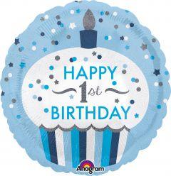 Standard 1st Birthday Cupcake Boy folijski balon