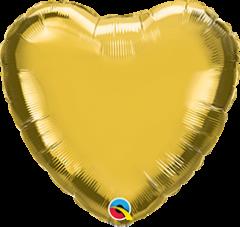 Mini Srce folijski balon na štapiću 10cm - Gold