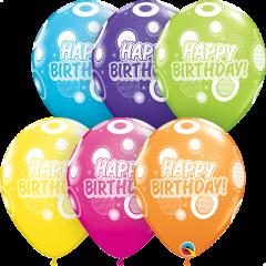 Lateks baloni 28cm Bday Dots&Glitz Tropical Ast