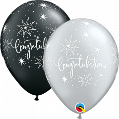 Lateks baloni 28cm Congratulations Elegant Pearl Black&Silver