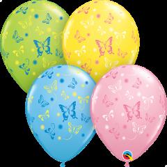 Lateks baloni 28cm Butterfliers Special Ast