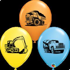 Lateks baloni 28cm Construction Trucks Special Ast