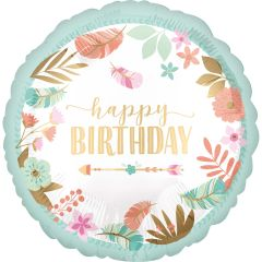 Standard BOHO Birthday Girl Satin folijski balon