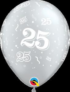 Lateks baloni 28cm 25 A Round Silver