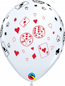 Lateks baloni 28cm Cards&Dice White