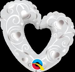 Mini Hearts & Filigree Pearl White folijski balon na štapiću