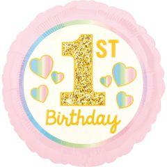 Standard Girl 1st Birthday Pink & Gold folijski balon