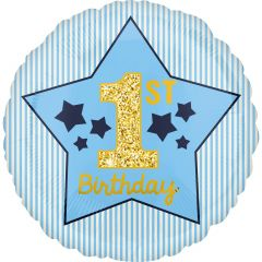 Standard Boy 1st Birthday Blue & Gold folijski balon