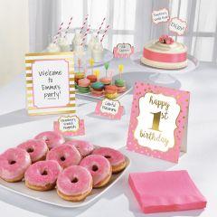 1st Birthday Pink & Gold set za dekoraciju