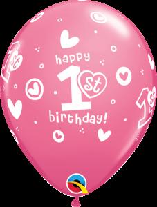 Lateks baloni 28cm 1st Bday Circle Hearts Girl Rose
