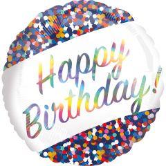 Standard Iridescent Birthday Confetti folijski balon
