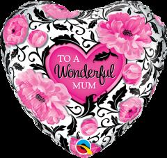 Standard Wonderful Mum Floral Damask folijski balon