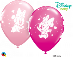 Lateks baloni 28cm Minnie Mouse Baby Hearts Pink&Wild Berry
