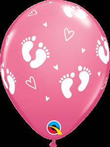 Lateks baloni 28cm Baby Footprints&Hearts Rose