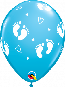 Lateks baloni 28cm Baby Footprints&Hearts Robins Egg