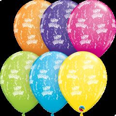 Lateks baloni 28cm Bday A Round Tropical Ast