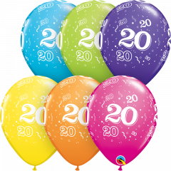 Lateks baloni 28cm 20 A Round Tropical Ast