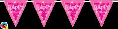Zastavice Happy Bday Pink Sparkle 3,6m (16 zastavica)