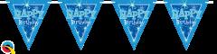 Zastavice Happy Bday Blue Sparkle 3,6m (16 zastavica)